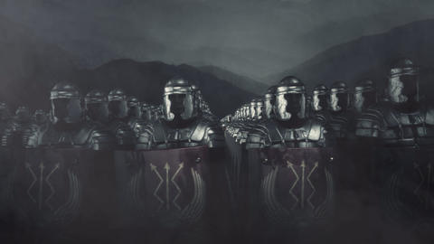 Roman Soldiers Standing in a Formation in a Battlefield Live Action