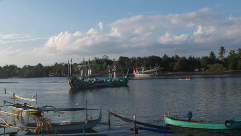 traditional balinese boats in prancak perancak west bali jembrana negara Live Action