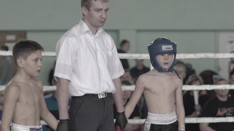 Kickboxing. The referee raises his hand to the winner. Kyiv. Ukraine Live Action