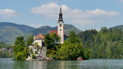 Scenic Church on Lake Bled Island TimeLapse 3840 2160 4K UHD Live Action