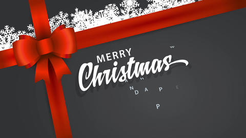 gift with text merry christmas and happy new year hand written in cursive font on paper wrapping Animation