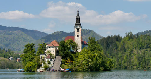 Old Church on Famous Lake Bled Island 4096 2160 4K UltraHD Live Action