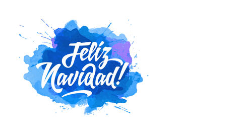 spanish merry xmas feliz navidad written with humorous calligraphy offset on splatter of blue and Animation