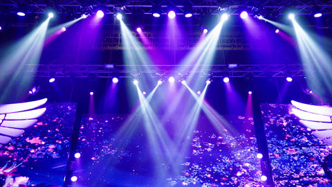 Stage with lights. Background lighting. Concert light Live Action