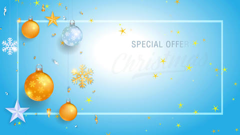 xmas sale special proposal art with words inside rectangular border and lighting bulbs galaxy and Animation