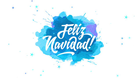 spanish merry xmas feliz navidad written with jolly handwriting offset on splatter of blue and mauve Animation