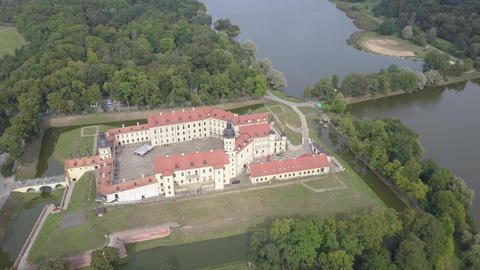 Flying over the famous Nesvizh castle in the city of Nesvizh, Belarus. A Live Action