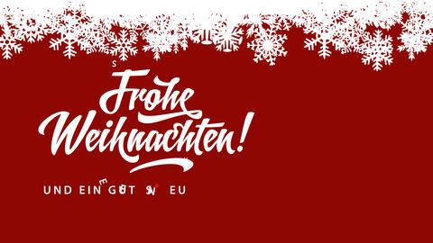 frohe weihnachten und ein gutes neues jahr german merry xmas and laughing new year written over red Animation