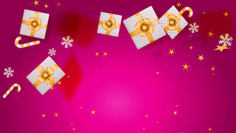 xmas background with fuchsia space and souvenir boxes elegantly decorated with yellow bows falling Animation