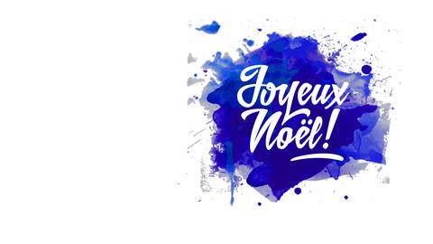 french merry christmas with words joyeux noel text with relaxed hand drawn offset over blue Animation