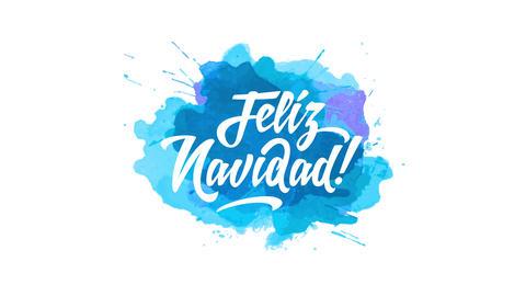 spanish merry christmas feliz navidad written with playful calligraphy typography on splash of blue Animation
