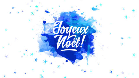 french merry xmas with words joyeux noel text with relaxed hand drawn offset over blue watercolour Animation