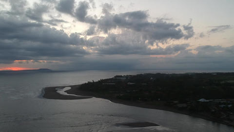 flight in cloudy weather, in the corner you can see the sunset glow, right Live Action