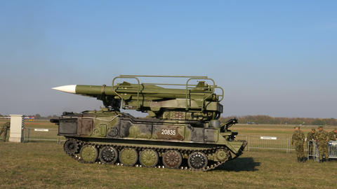 Soviet USSR air to air missiles on crawler vehicle used in Kosovo against NATO Live Action