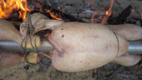 Grilling skin of chicken above flames, close up view. Garden party with traditional grilling of Live Action