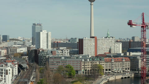 AERIAL: Wide View of Empty Berlin with Spree River and Train Tracks with View of Live Action