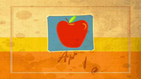 vintage food advertising with big red apple drawn over blue frame layered background with dirt Animation