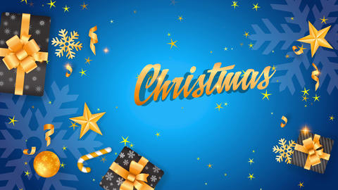christmas transfer design with yellow stars tree bulbs flake and gifts surrounding words handling Animation