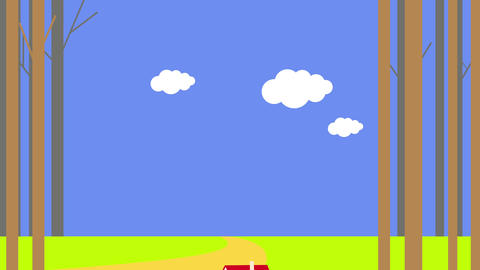 various parts of animation appearing in succession on a blue background first a stripe of green Animation