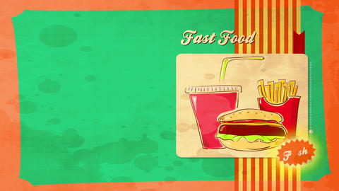 classic fast nutrient with illustration of burger french french fries and soda on plastic teacup and Animation