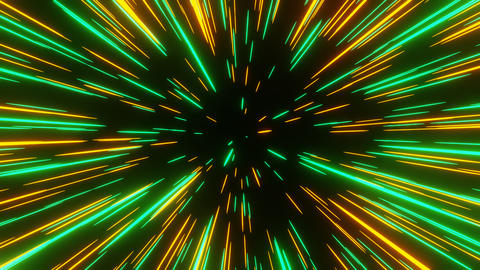 Green Orange Abstract Meteor or Lightspeed in Space Move Out from Camera Animation