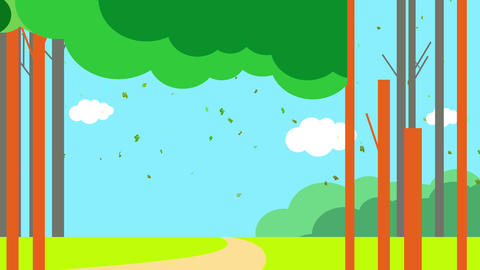 leaves flying during windy day over small cabin in the middle of the forest against blue sky as seen Animation