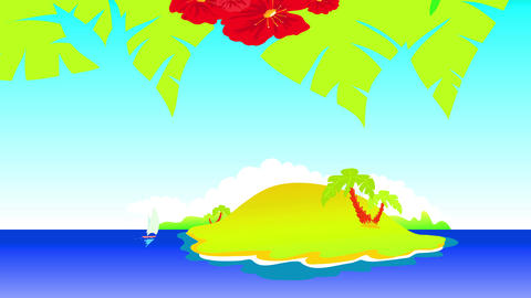 tropical hawaiian island with powerful red petal and palm trees forming pattern up rich ridge and Animation