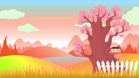 house isolated on large plot of land with great view of mountain landscape on a sunny afternoon with Animation