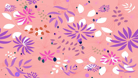 gorgeous endless blossoming pattern with all types of petal branches and plants drawn on plush pink Animation