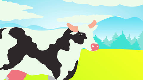 cow standing on a lush meadow surrounded by green hills high grass under blue cloudy sky with Animation