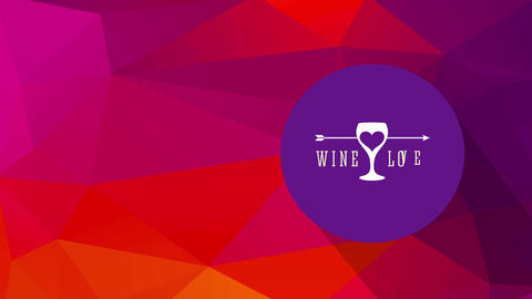 wine affection with a heart crossed by an arrow drawn on a glass and classy typography over warm Animation