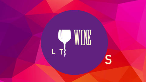 modern wine list identity with glass and corkscrew replacing letter i over purple circle above 3d Animation