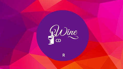wine card concept art using stylish typography decorated with a bottle and a glass over a round in Animation