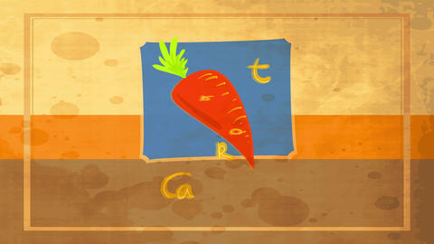 old fashioned cooking conceptual art designed with drawing of tasty orange carrot with green stem Animation