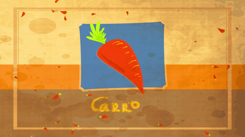 aged fashioned preparation conceptual science designed with drawing of tasteful orange carrot with Animation