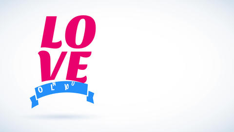 happy valentines day with language affection written with big color offset above lone yourself with Animation