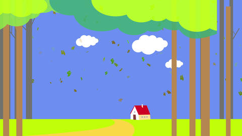 red house in the middle of tall trees forest and white clouds coming together like a puzzle on a Animation