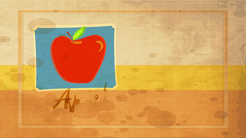 aged food advertisement with big red apple drawn over blue frame layered background with dirt spot Animation