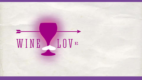 wine romance concept with an arrow fixed cross a cup with a heart and text with fashionable offset Animation