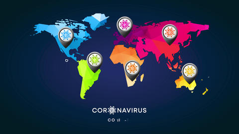 coronavirus world map made with 3d triangular forms and a location icon symbol designed with virus Animation