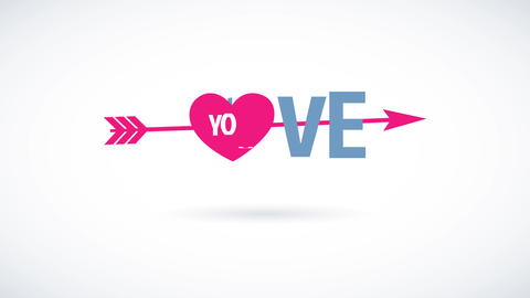 happy valentines day text with the phrase love you written with modern typography with a pink heart Animation