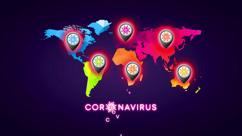 coronavirus world map made with 3d triangular forms and a position icon mark designed with virus Animation
