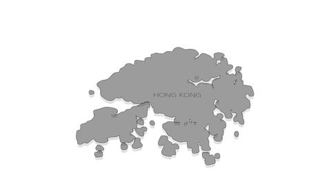 Hong Kong animated map with alpha channel Animation