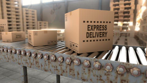 Logistics warehouse where cardboard boxes with parcels are stored seamless loop Animation