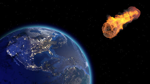 Asteroid Impact on Earth. Asteroid, comet, meteorite glows, enters the earth's Live Action