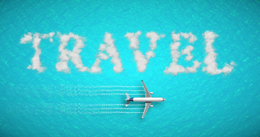 travel concept written on tropical caribbean sea with tourism airplane fly near it holiday, abstract Live Action