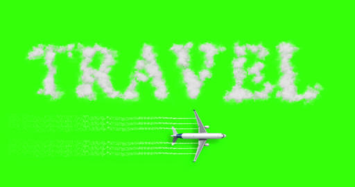 travel concept written on chroma key green screen with tourism airplane fly near it holiday, Live Action