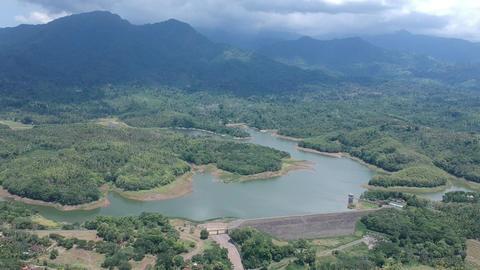 a large reservoir of a beautiful shape with a dam Waduk Palasari Ekasari Melaya Live Action