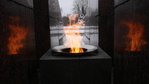 Eternal flame memorial on a winter day Live Action