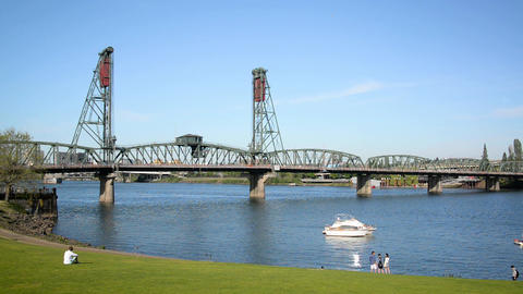 Hawthorne Bridge and Portland Waterfront Footage